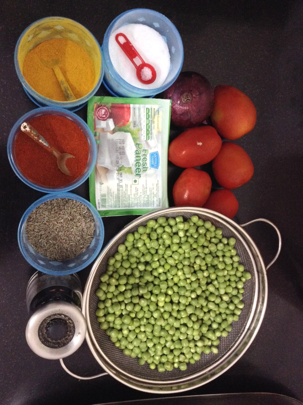 Peas (3 cups), Tomatoes (5), Onions (1 big/2 small), Paneer (200 g), Salt, Turmeric, Chilli powder, Cumin, Ghee, Pepper.